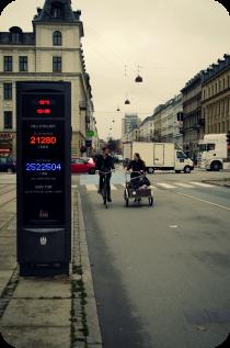 Contador de bicis en Copenhague